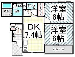 ガーデンハウス yu-u[102号室]の間取り