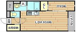 大阪府高槻市芝生町3丁目の賃貸マンションの間取り