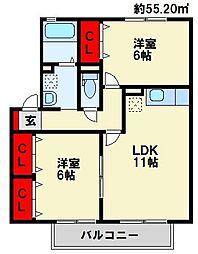 [テラスハウス] 福岡県中間市岩瀬西町 の賃貸【福岡県 / 中間市】の間取り
