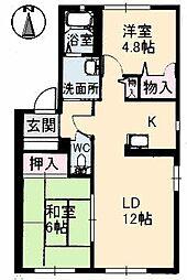 山口県下関市稗田中町の賃貸アパートの間取り