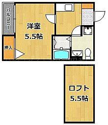 福岡県福岡市中央区梅光園2の賃貸アパートの間取り