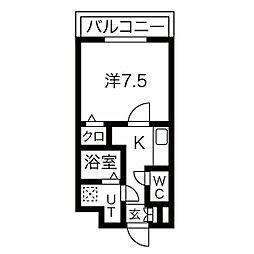 名古屋市営東山線 中村日赤駅 徒歩5分の賃貸マンション 4階1Kの間取り