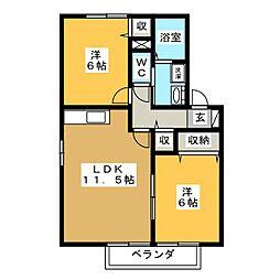ウィルモア M1[2階]の間取り
