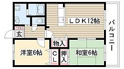 愛知県名古屋市名東区高間町の賃貸アパートの間取り
