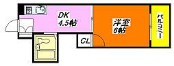 サンハイツ高井田 612号室[6階]の間取り