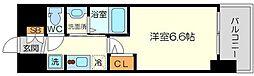 エステムコート新大阪14アイシー 12階1Kの間取り