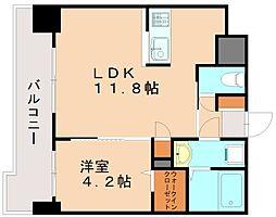 福岡県福岡市東区多の津4丁目の賃貸マンション 11階1LDKの間取り