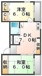 香川県高松市鍛冶屋町の賃貸マンションの間取り