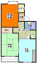 茨城県ひたちなか市笹野町3丁目の賃貸アパートの間取り