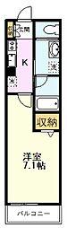 JR南武線 西国立駅 徒歩3分の賃貸マンション 2階1Kの間取り