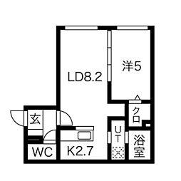 パインハート中の島 4階1LDKの間取り