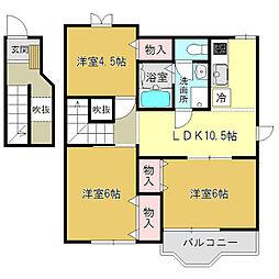 奈良県御所市大字茅原の賃貸アパートの間取り