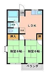 栃木県宇都宮市末広2丁目の賃貸アパートの間取り
