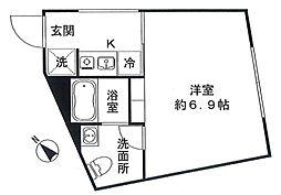 ザコイシカワ 5階ワンルームの間取り