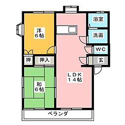 クレールヤマトA棟[1階]の間取り