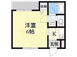 阪急千里線 山田駅 徒歩11分の賃貸マンション 2階1Kの間取り