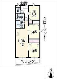 プレジール尾平A棟[2階]の間取り
