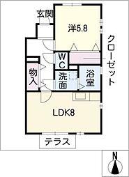 ルミエール 1[1階]の間取り