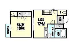 福岡県福岡市博多区月隈3丁目の賃貸アパートの間取り