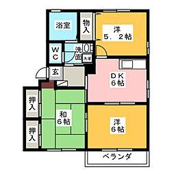 愛知県春日井市西本町2丁目の賃貸アパートの間取り