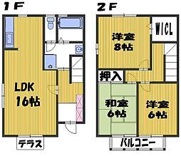 [テラスハウス] 埼玉県さいたま市中央区新中里4丁目 の賃貸【/】の間取り