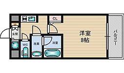 クレアートアドバンス北大阪 10階1Kの間取り