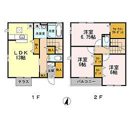 [テラスハウス] 神奈川県藤沢市亀井野4丁目 の賃貸【/】の間取り
