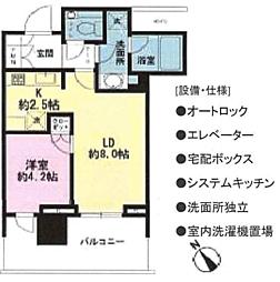 パークコート赤坂檜町ザ・タワー 22階1LDKの間取り