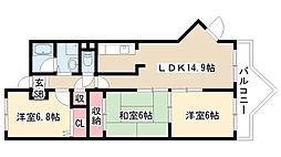 愛知県名古屋市緑区有松3丁目の賃貸マンションの間取り