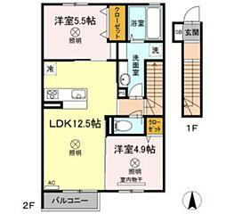 JR山陽本線 北長瀬駅 徒歩21分の賃貸アパート 2階2LDKの間取り
