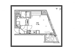 JR総武線 千駄ヶ谷駅 徒歩4分の賃貸マンション 4階ワンルームの間取り