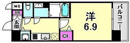 アドバンス神戸プリンスパーク 2階1Kの間取り