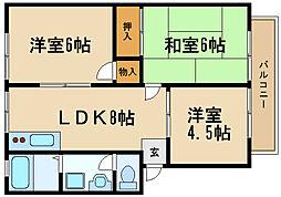 兵庫県伊丹市昆陽南1丁目の賃貸アパートの間取り