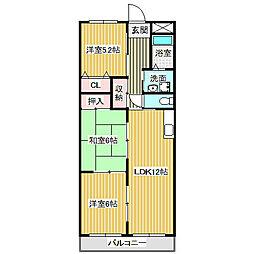 愛知県名古屋市港区川間町2丁目の賃貸マンションの間取り