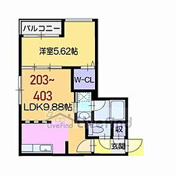 札幌市営東西線 菊水駅 徒歩7分の賃貸マンション 2階1LDKの間取り