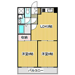 愛知県名古屋市中川区荒子1丁目の賃貸マンションの間取り