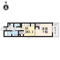プリムローズ桂川 2階1DKの間取り