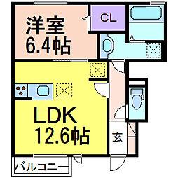 シャルム C棟 1階1LDKの間取り