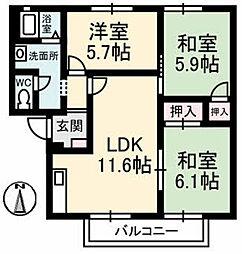 グリーンハイツ柴崎[A201号室]の間取り