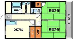 豊中服部アパートメント[6階]の間取り