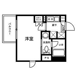 チェンテナリオ渋谷 4階1Kの間取り