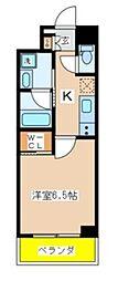 東京メトロ東西線 葛西駅 徒歩6分の賃貸マンション 2階1Kの間取り