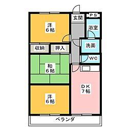シティパレス山田B[1階]の間取り