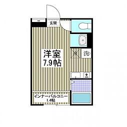 京王線 聖蹟桜ヶ丘駅 徒歩9分の賃貸アパート 1階ワンルームの間取り