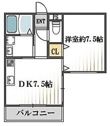クィーンライフ桑津[6階]の間取り