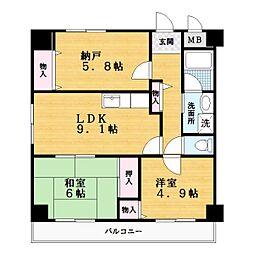 パルOM[4階]の間取り