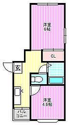 ベルデハイツ萱島[2階]の間取り