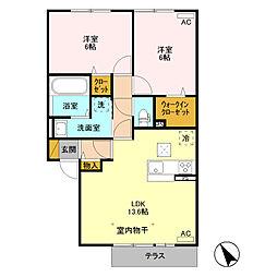 (仮)福居町プロジェクト B[1階]の間取り