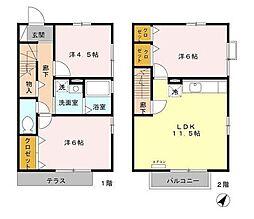 福岡県北九州市八幡西区鉄王1丁目の賃貸アパートの間取り
