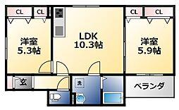 クリエオーレ桂1 2階2LDKの間取り